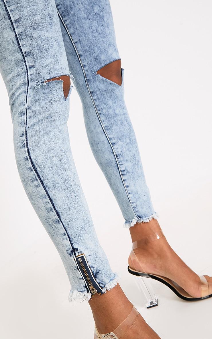Acid Wash Distress Skinny Jean 5