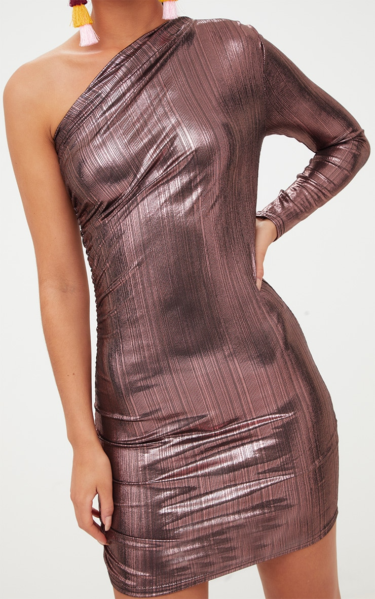 Pink Foil One Shoulder Ruched Bodycon Dress 5