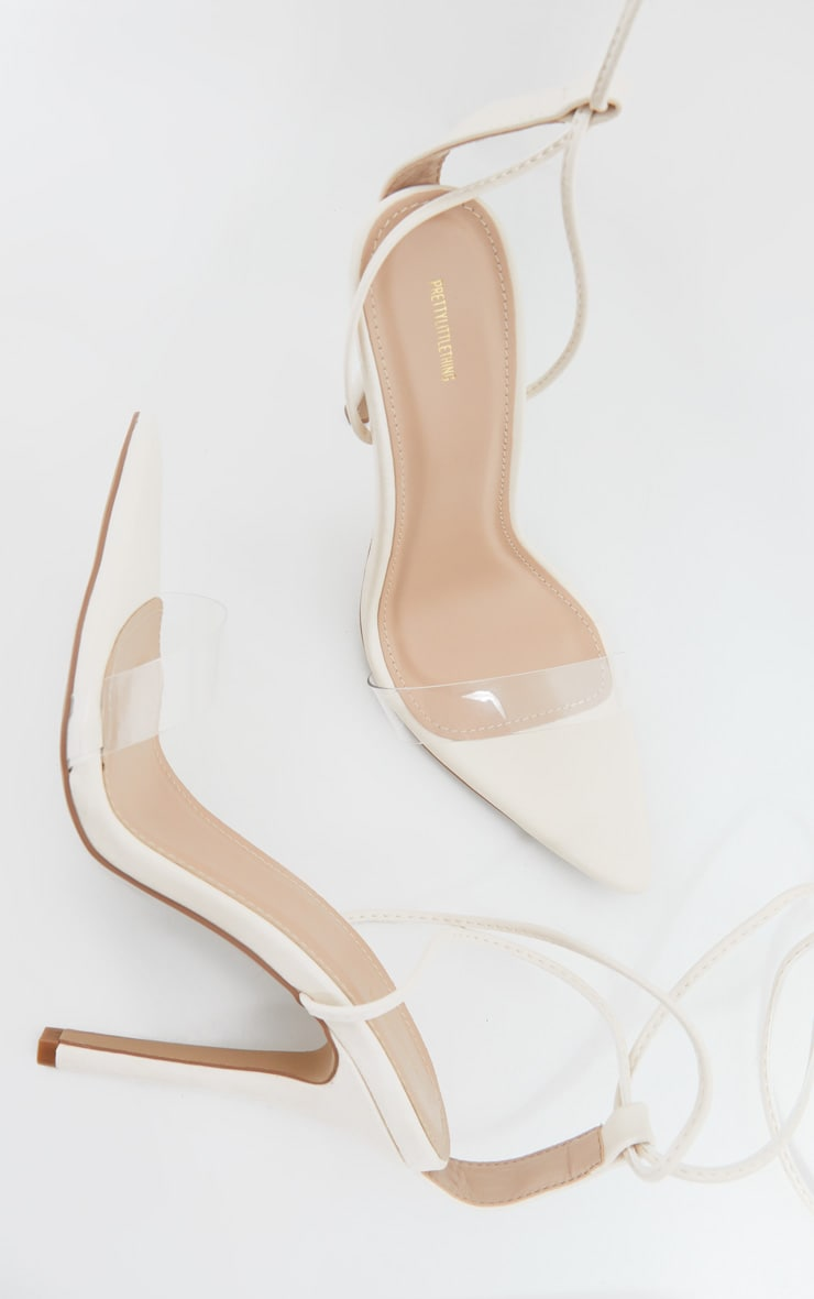 Cream Clear Strap Point Toe Barely There Sandals 4