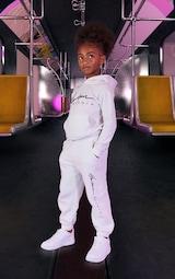 Kids White Printed Joggers 2