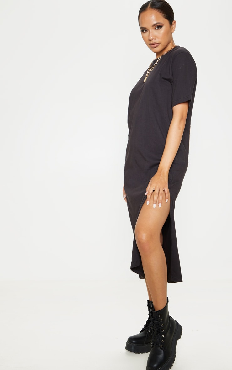 Black Split Side Midi T Shirt Dress 4