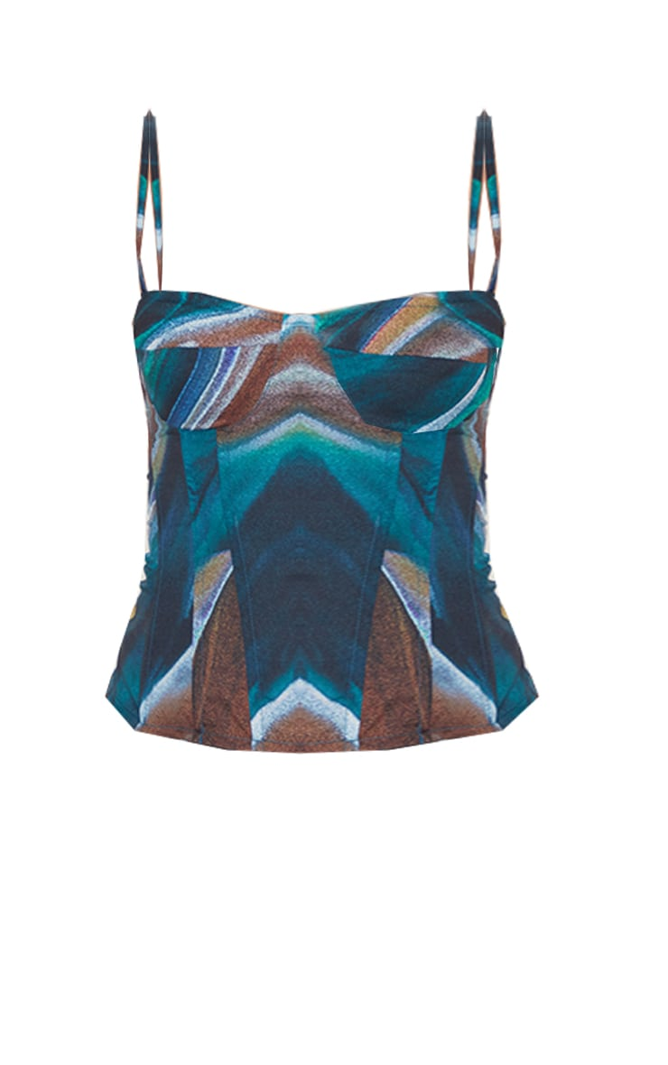 Turquoise Marble Print Structured Corset Top 5