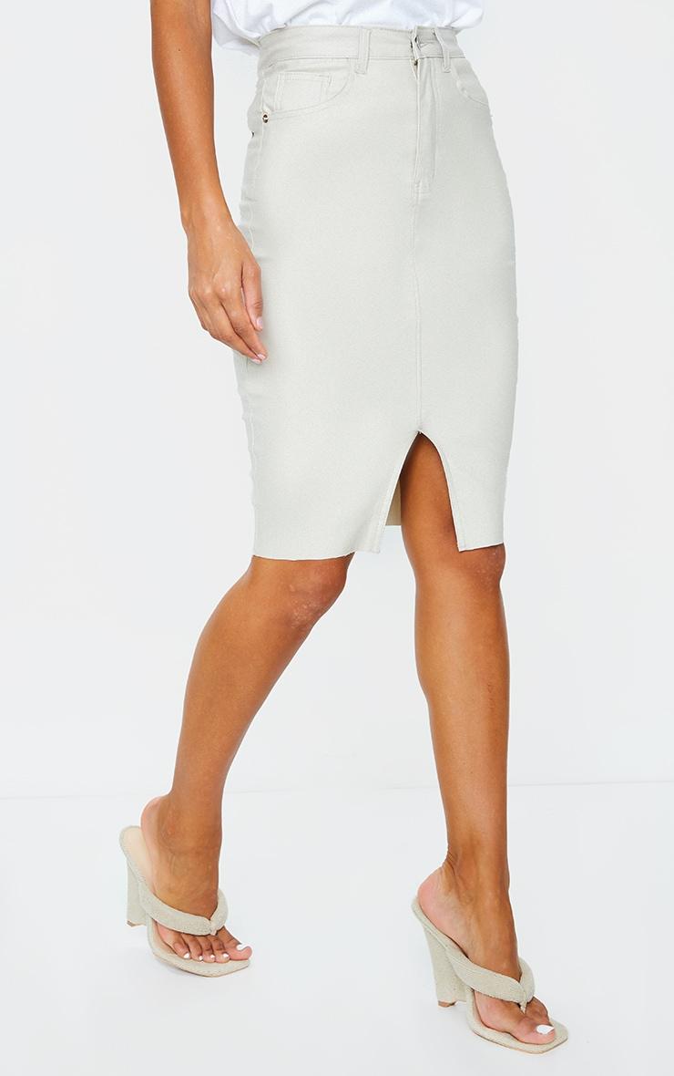 Stone Coated Denim Midi Skirt 2