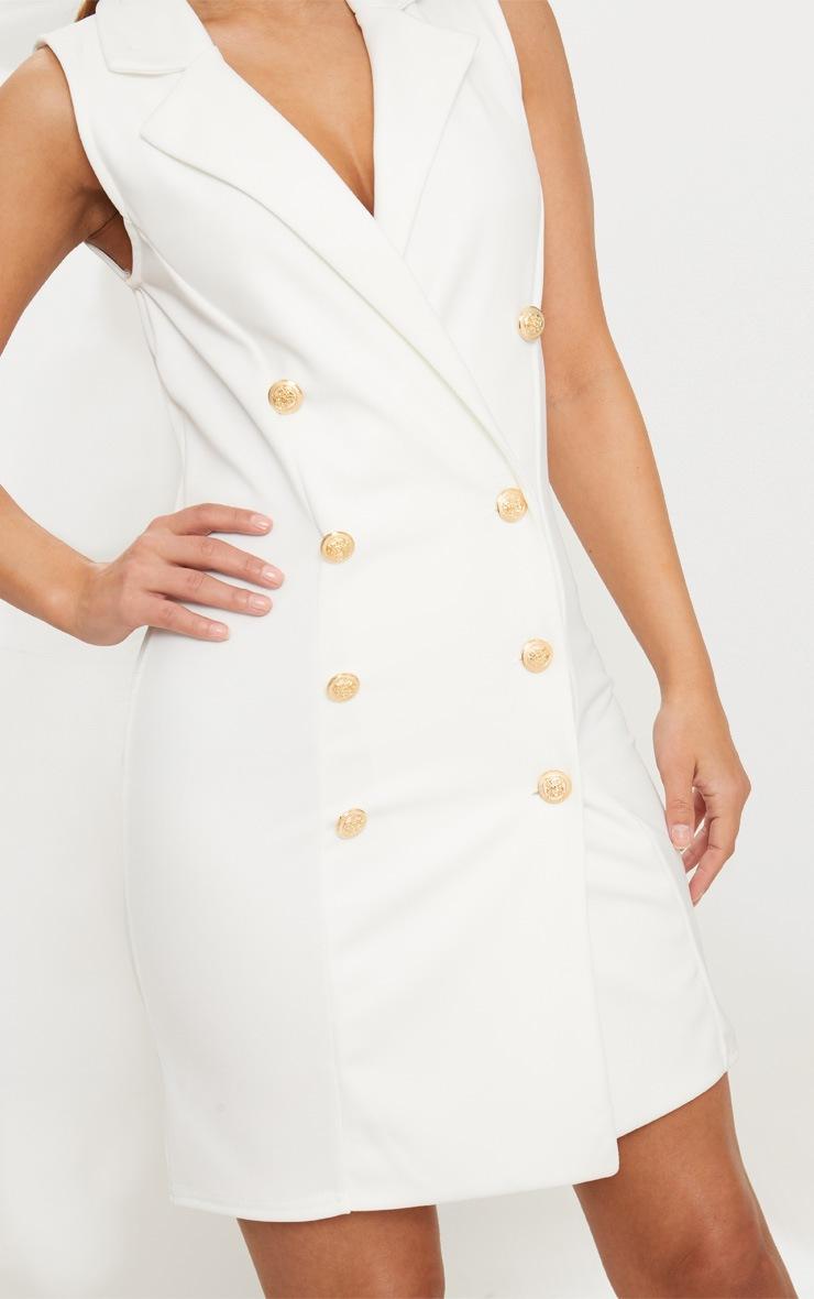Petite White Button Detail Sleeveless Blazer Dress 4