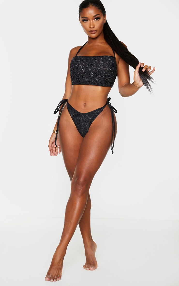Shape Black Glitter Fishnet Cowl Neck Bikini Top 3