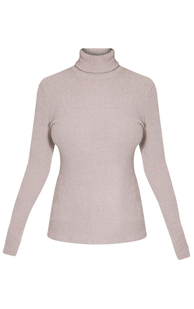 Delty top gris tricoté côtelé à col roulé 3