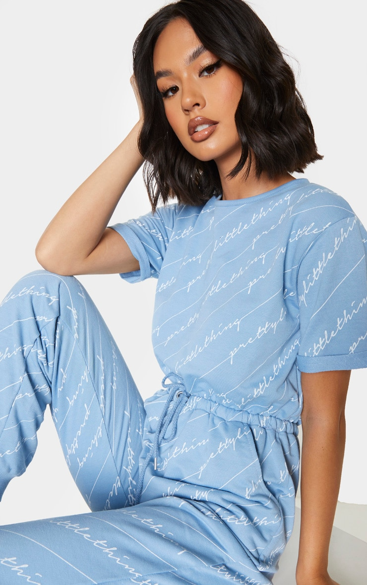 PRETTYLITTLETHING Blue Short Sleeve Sweat Jumpsuit 4