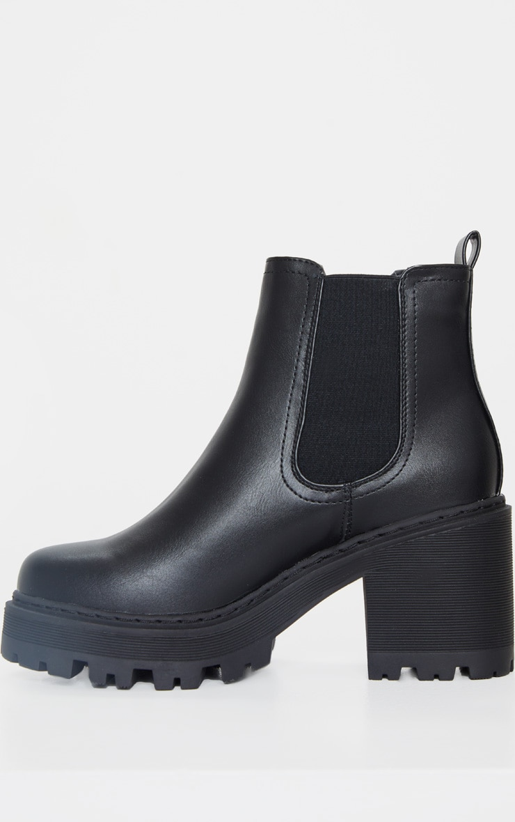Black Wide Fit Chunky Heeled Chelsea Boot 5