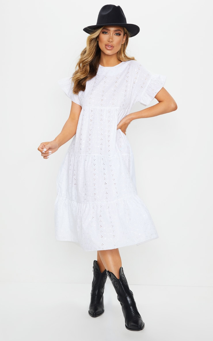 White Broderie Anglaise Tiered Smock Midi Dress 1