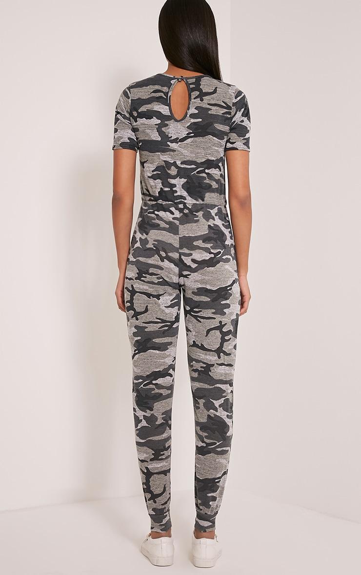 Kelsah Grey Camouflage Casual Jumpsuit 2