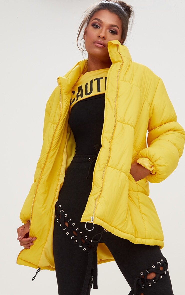 Yellow Ring Pull Longline Puffer Jacket 1