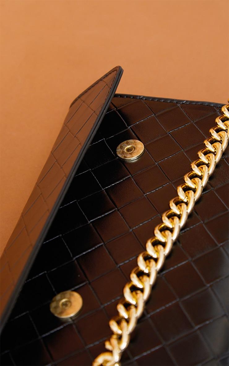 PRETTYLITTLETHING Black Weave Crossbody Bag 3