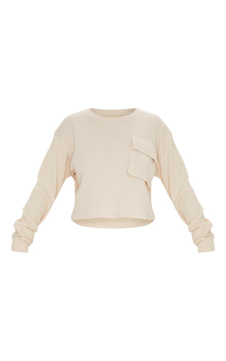 Crop top en maille gaufrée crème à manches longues et poche 3