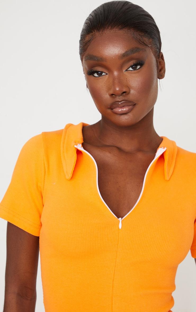 Tall Orange Thick Rib Zip Up Polo Collar Bodycon Dress 4