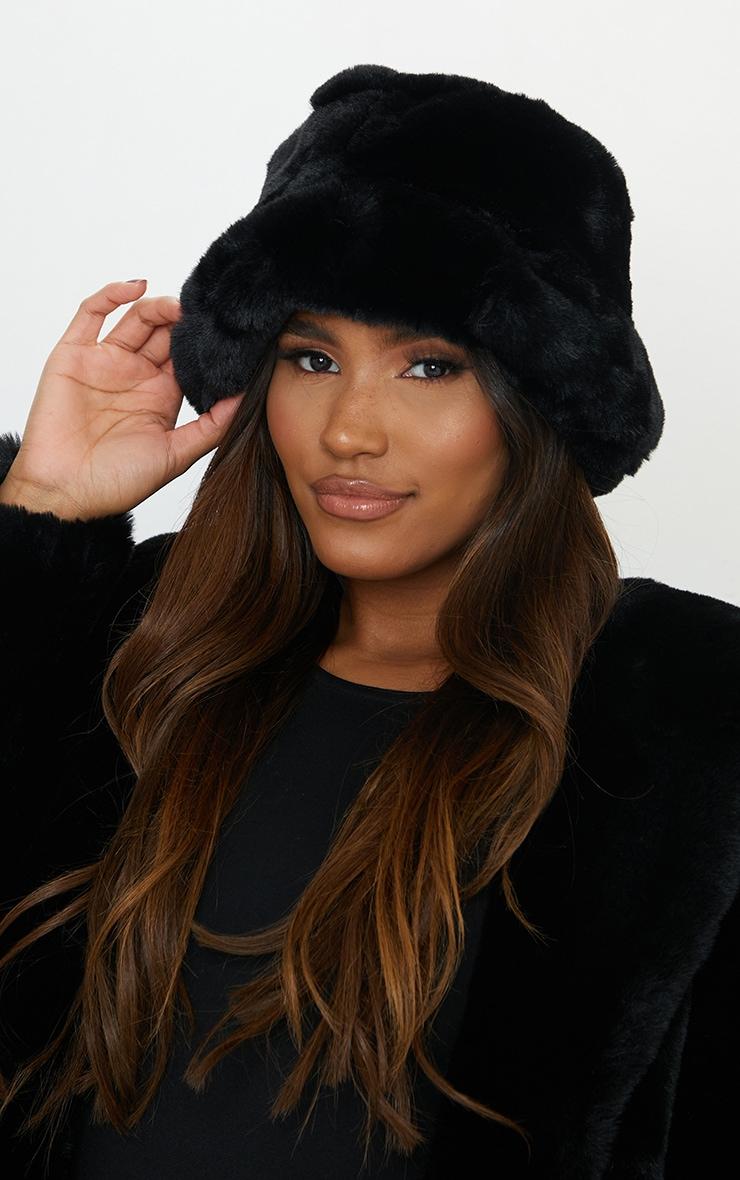 Premium Black Faux Fur Bucket Hat 1
