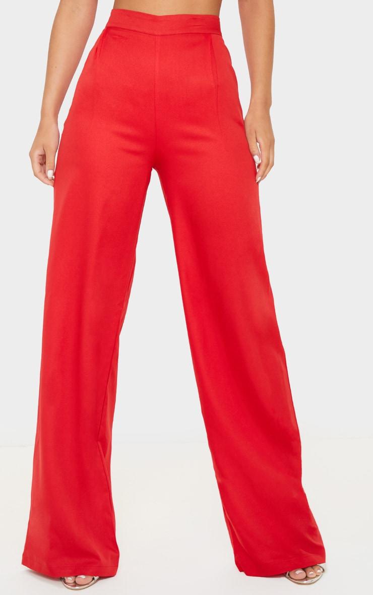 Red Wide Leg Woven Trouser 2