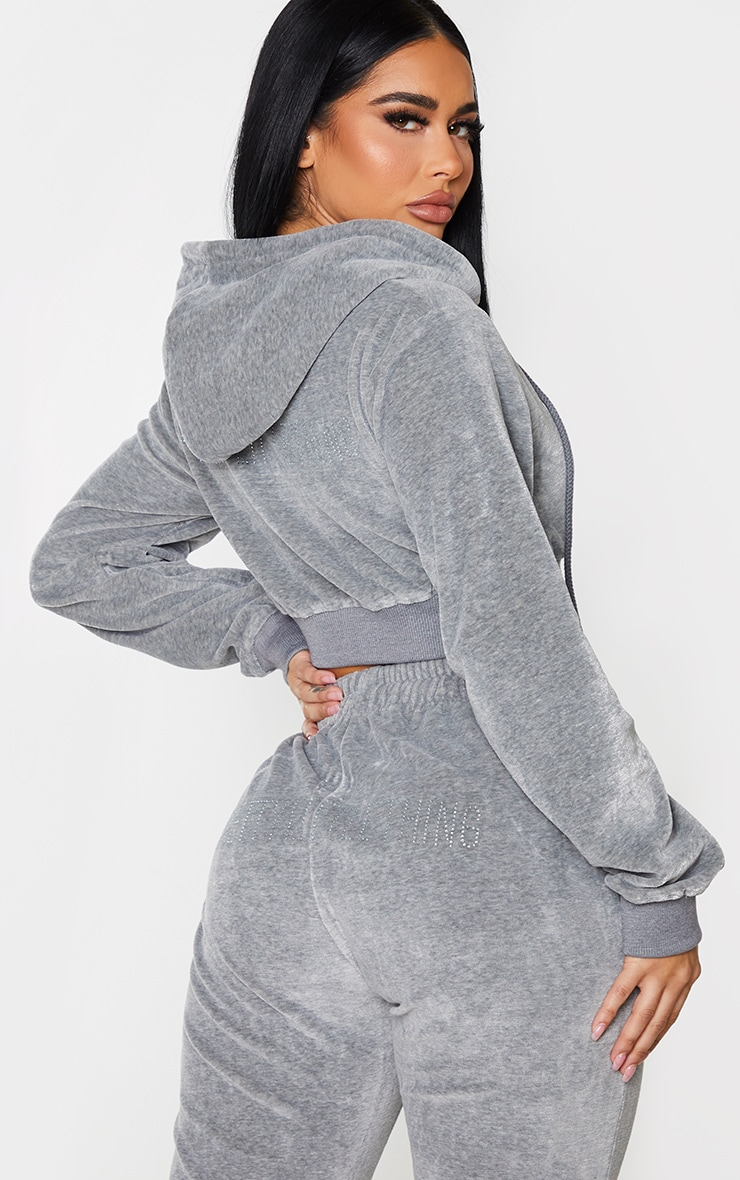 PRETTYLITTLETHING Shape Grey Velour Extreme Crop Sweater 2