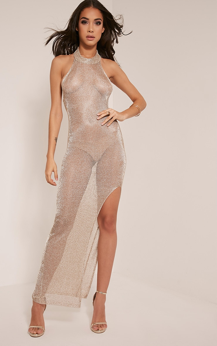 Dido Sheer Gold Halterneck Metallic Knitted Maxi Dress 1