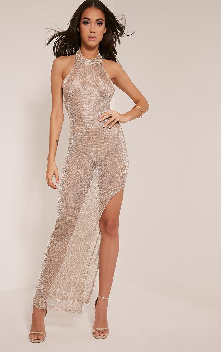 Dido robe maxi tricotée transparente or métallisé avec dos nu 1