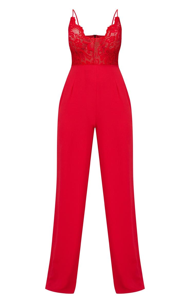 Red Lace Wide Leg Lace Jumpsuit 3