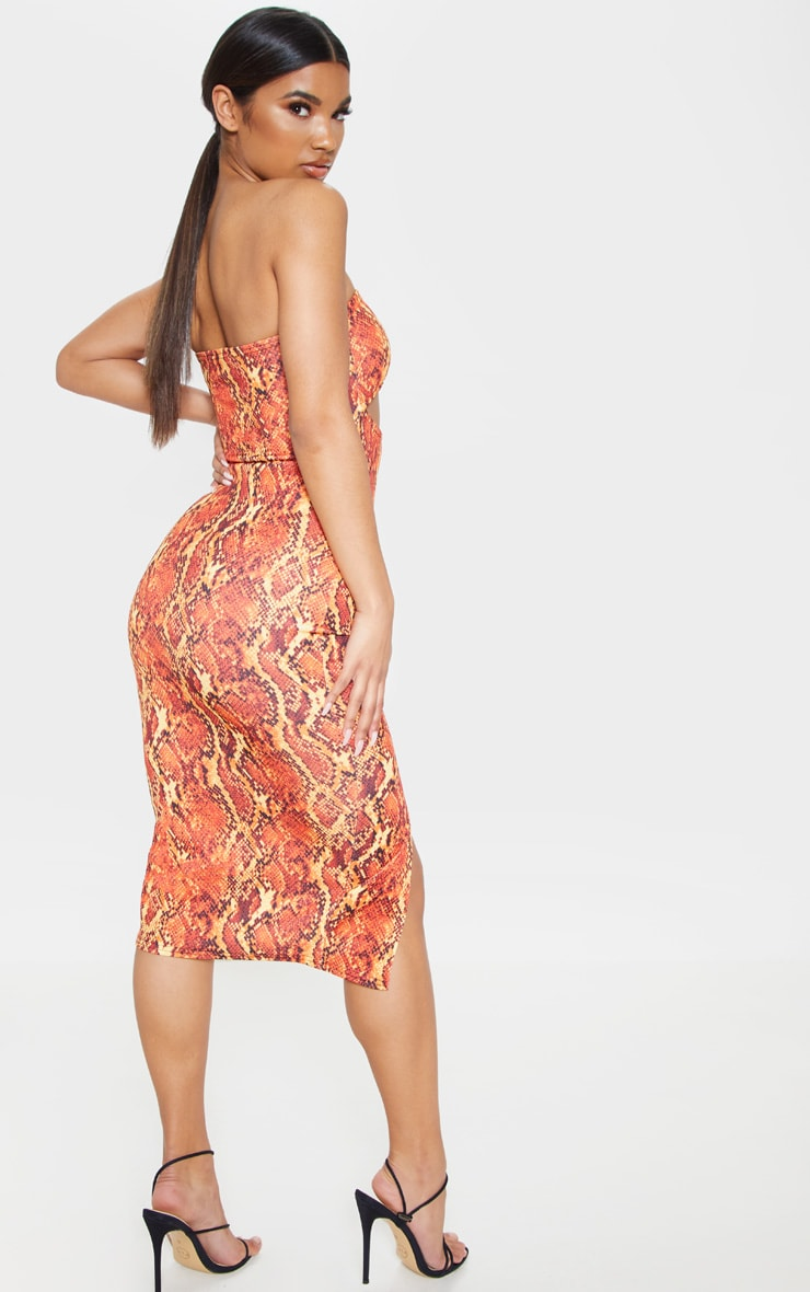 Orange Scuba Snake Print Cut Out Bandeau Midi Dress 2