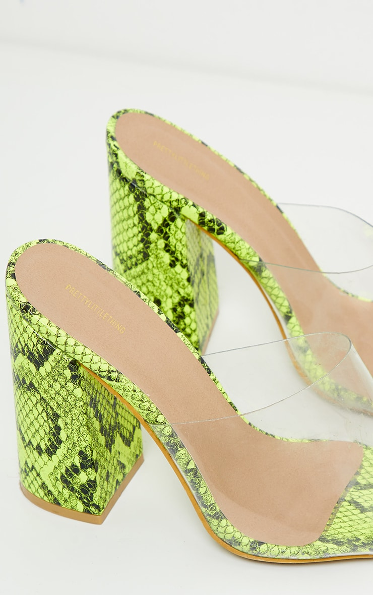 Lime Snake Block Heel Point Toe Mule 4