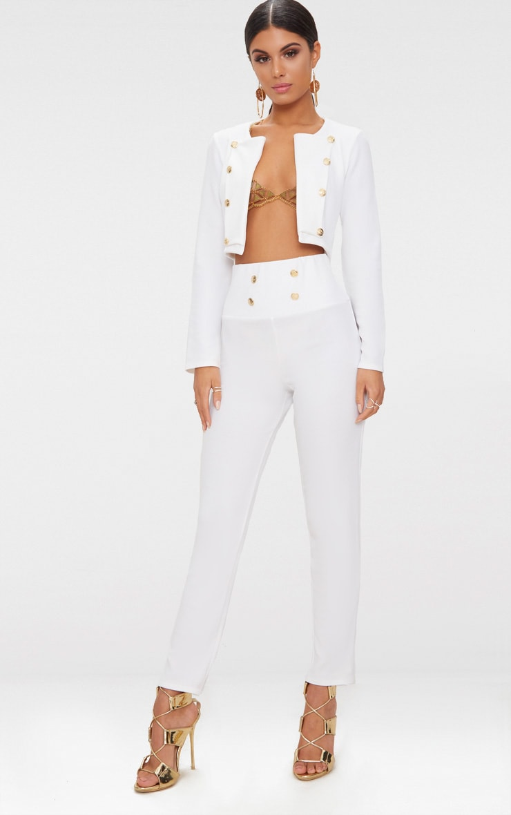 White Military Cropped Jacket  4