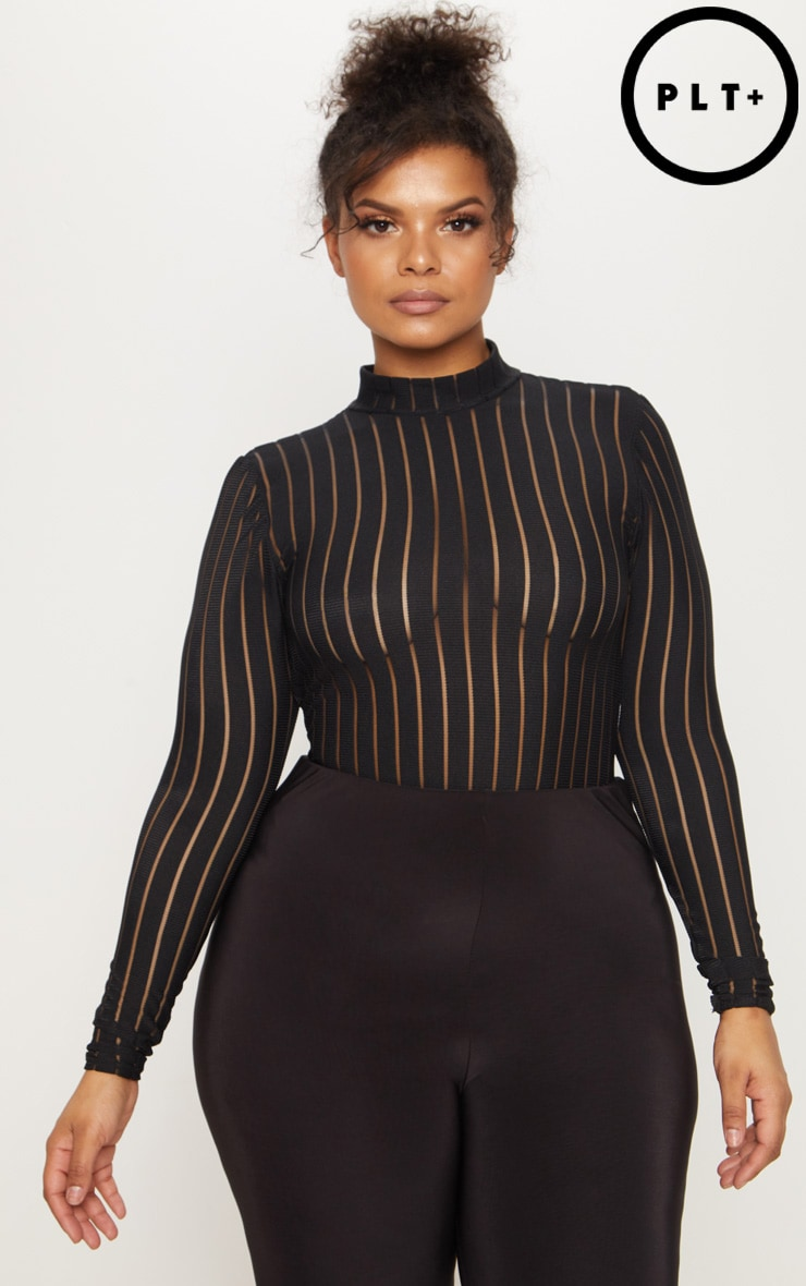 Plus Black Burn Out Striped Mesh Bodysuit 1