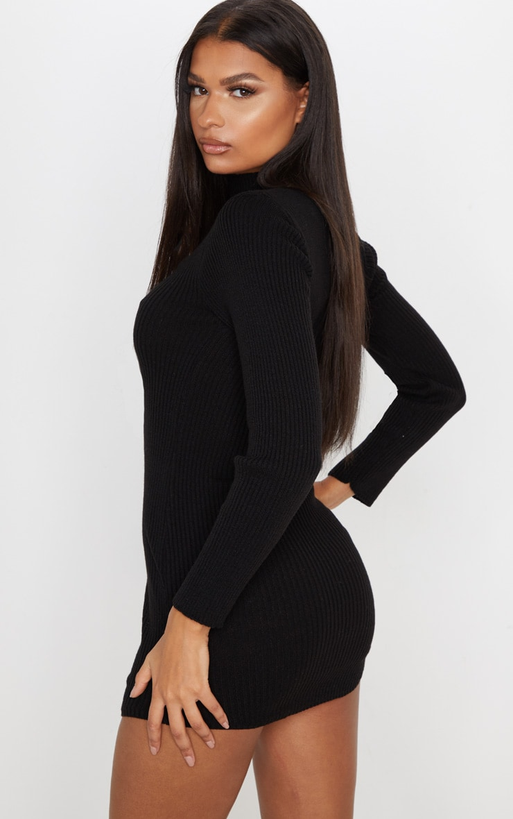 Black High Neck Curve Hem Sweater Dress 3