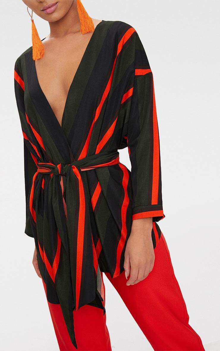 df5efd1ea574b Khaki Bold Stripe Tie Waist Blouse image 5