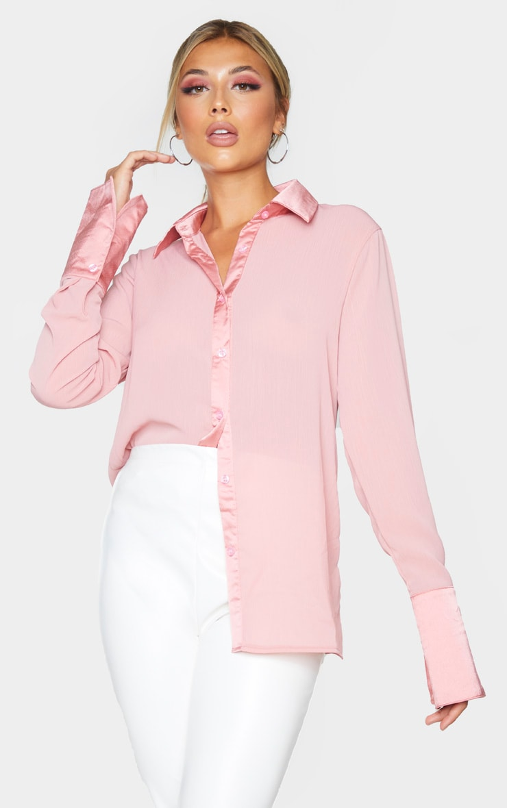 Rose Woven Crinkle Textured Shirt 1