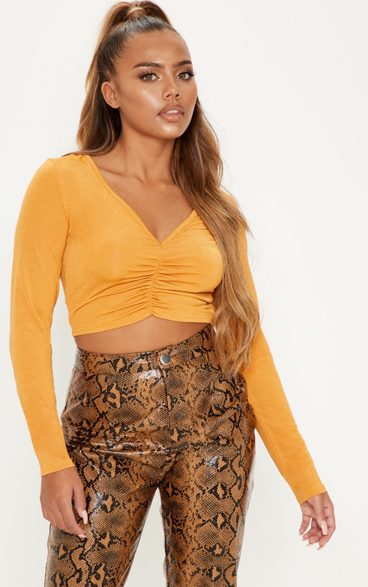 Mustard Slinky Ruched Crop Top