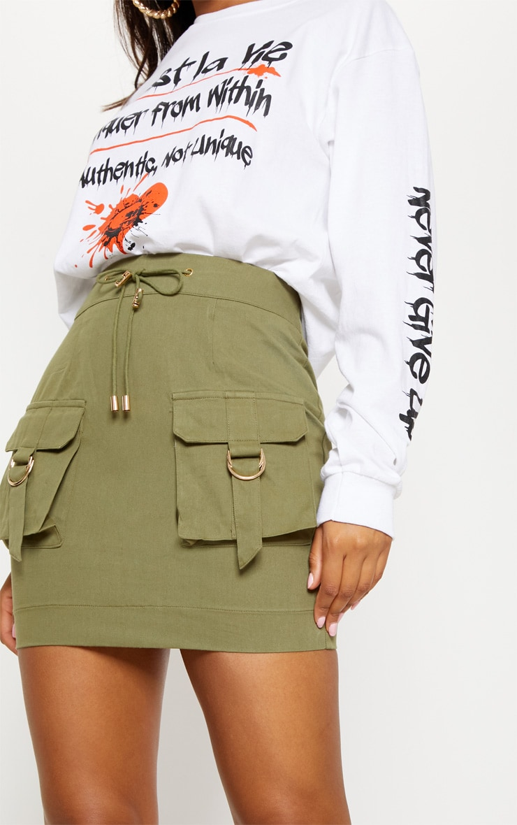 Khaki Cargo Pocket Detail Mini Skirt 6