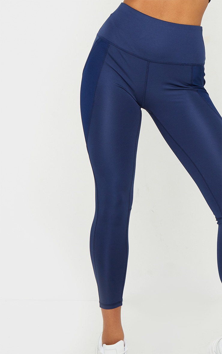 Navy Side Pocket Basic Leggings 4