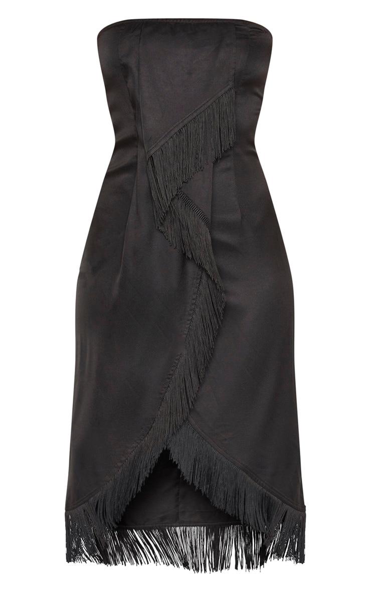 Black Bandeau Tassel Front Midi Dress 3