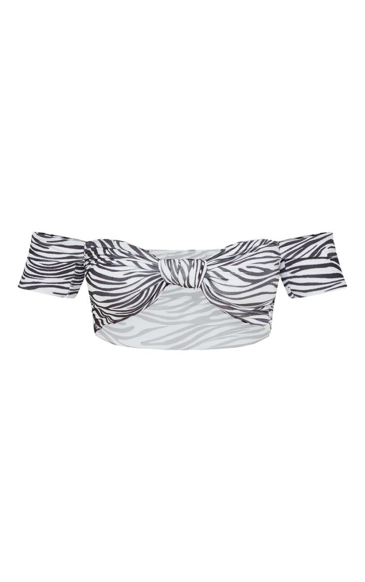 Black Zebra Bardot Knot Front Bikini Top 4