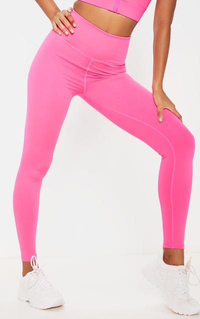 Hot Pink High Waist Cropped Gym Legging
