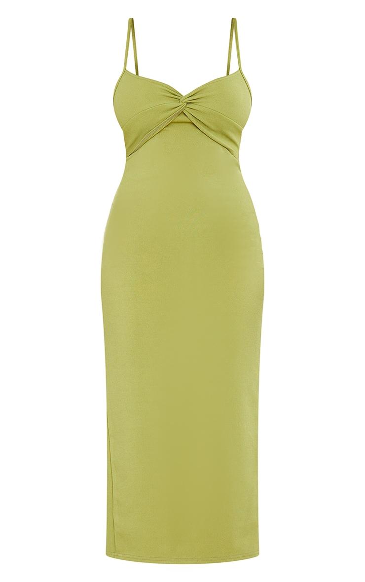 Olive Rib Twist Front Detail Strappy Midaxi Dress 5