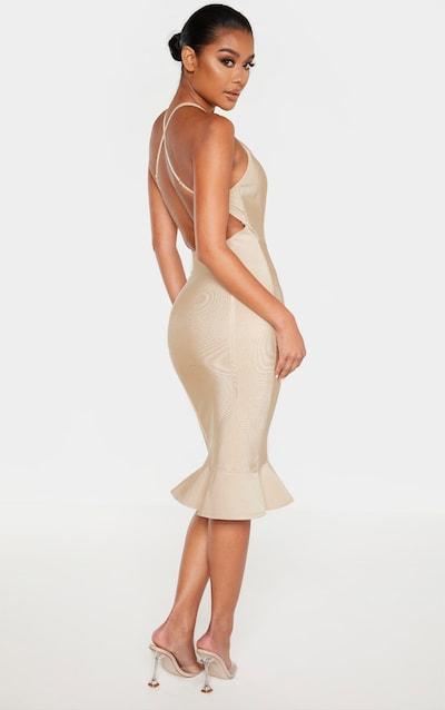 Champagne Bandage Cross Strap Open Back Frill Hem Midi Dress