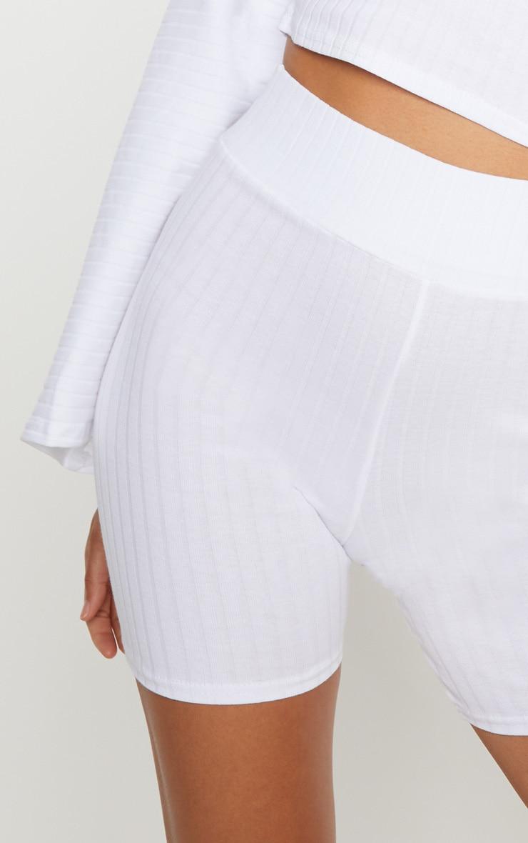 White Rib High Waisted Bike Shorts 6