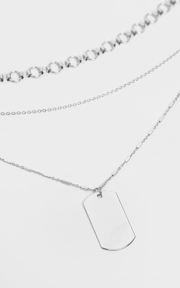 Silver Dog Tag Layering Necklace 3