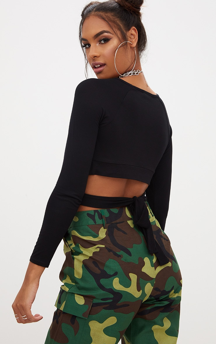 Black Cross Front Longsleeve Crop Top  2