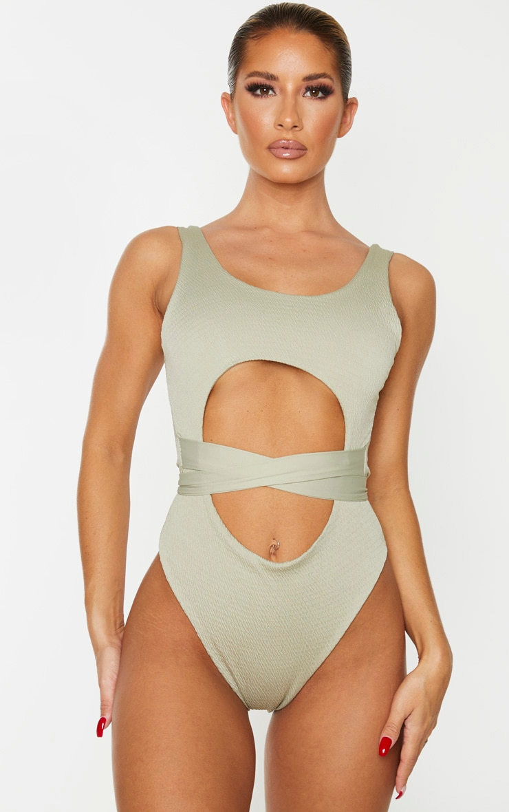 Soft Olive Crinkle Cut Out Belted Swimsuit 1