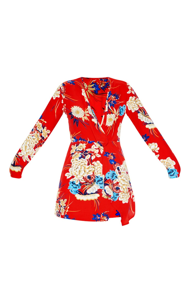 Red Floral Long Sleeve Wrap Dress 3
