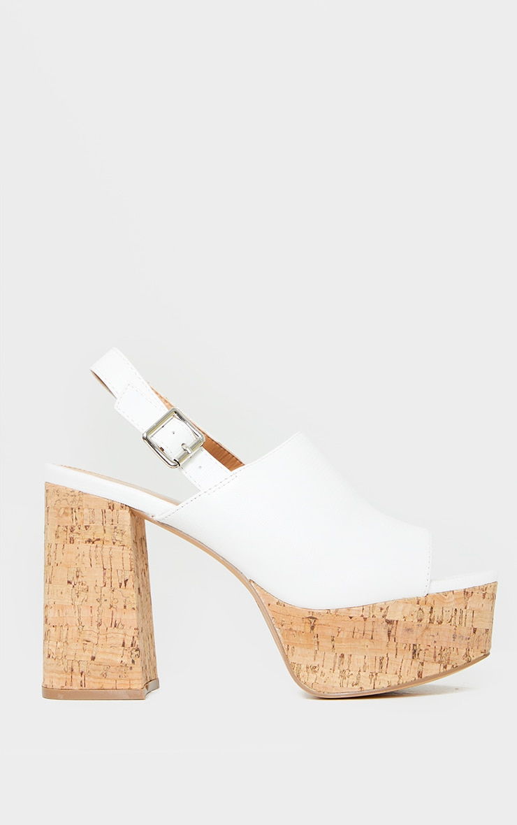 White Cork Platform Slingback Sandals 3
