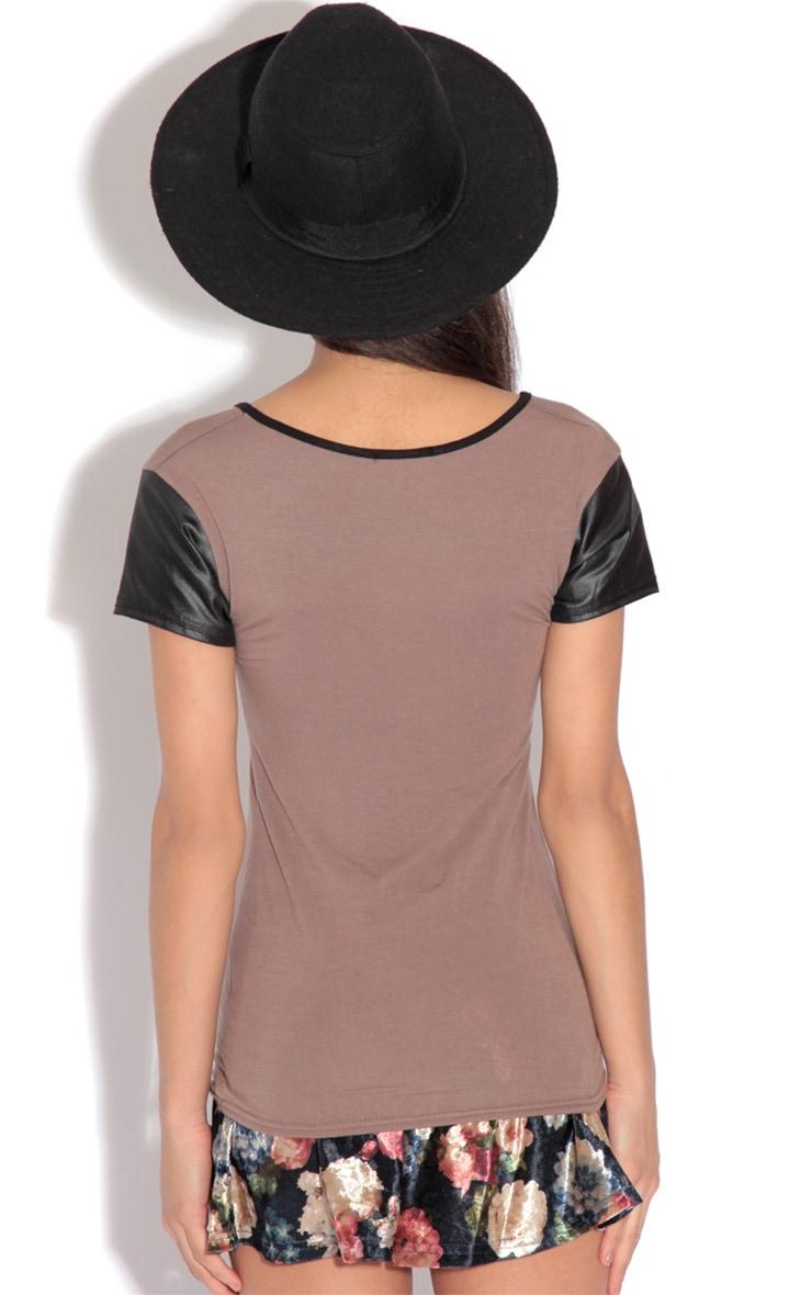 Clea Brown Contrast Sleeve Top-12 2