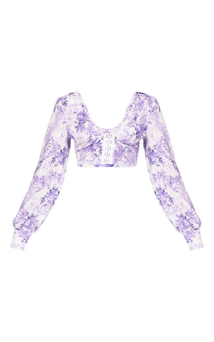 Lilac Porcelain Print Hook And Eye Plunge Long Sleeve Crop Top 5