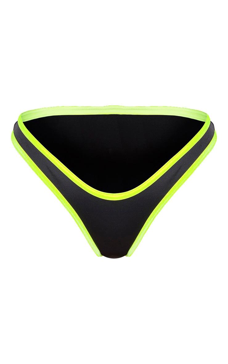 Bas de bikini noir échancré contrastant recyclé  6