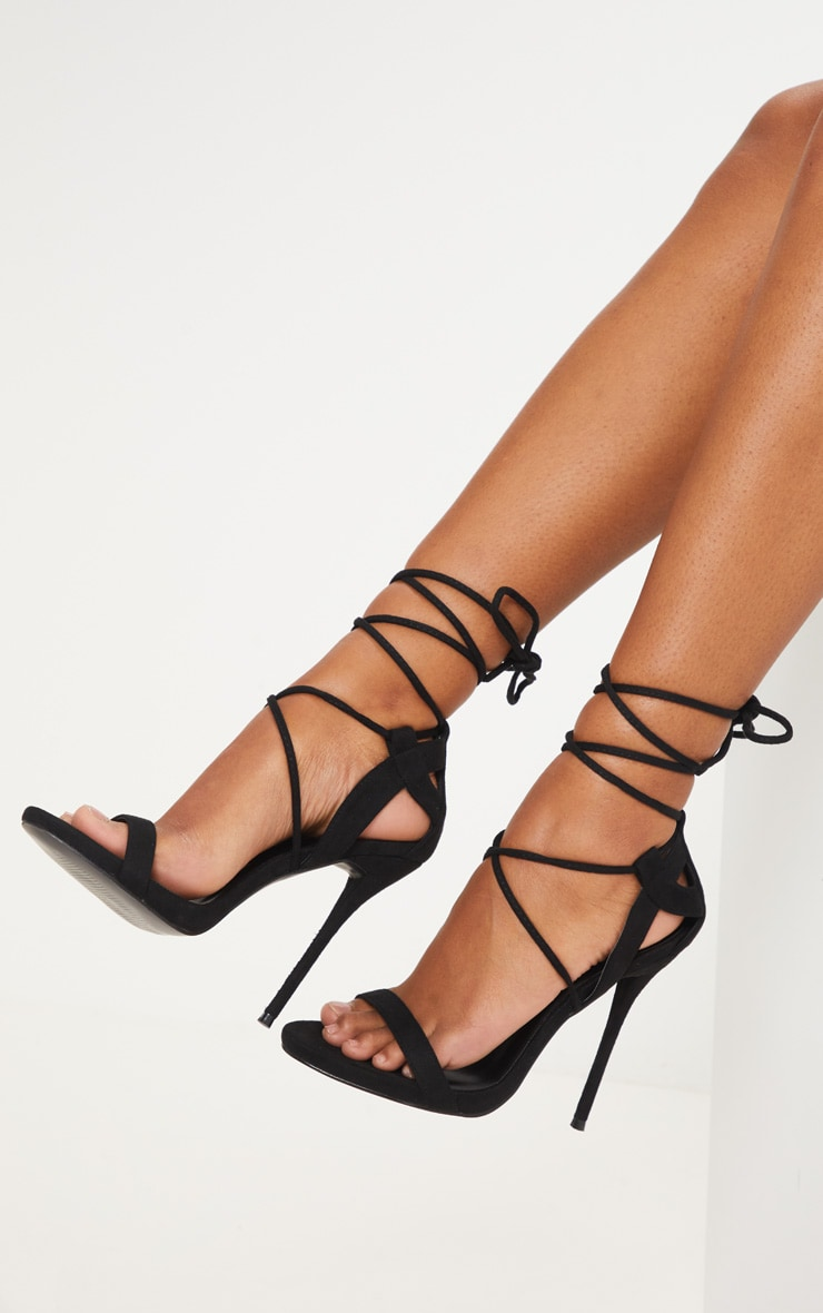 Serenna Black Lace Up Sandals 1