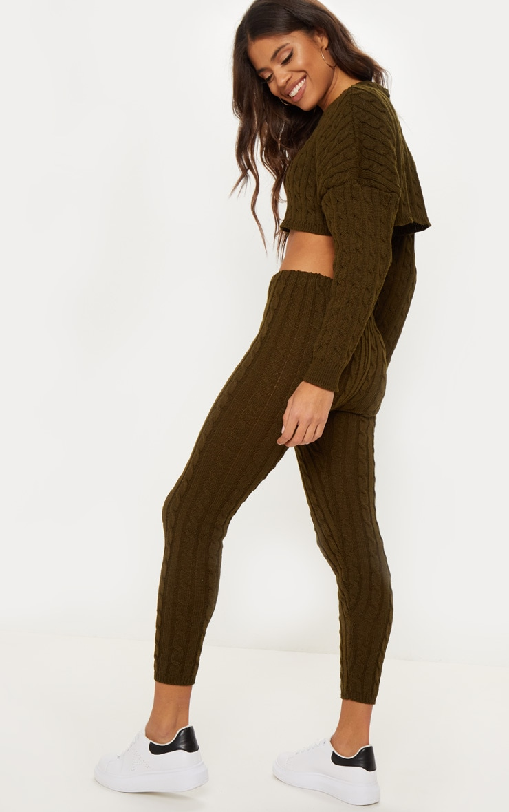 khaki cable knit crop sweater & legging set